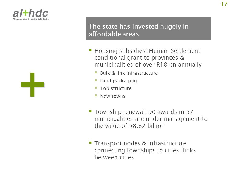 The state has invested hugely in affordable areas Housing subsidies: Human Settlement conditional grant to provinces & municipalities of over R18 bn annually Bulk & link infrastructure Land packaging Top structure New towns Township renewal: 90 awards in 57 municipalities are under management to the value of R8,82 billion Transport nodes & infrastructure connecting townships to cities, links between cities 17