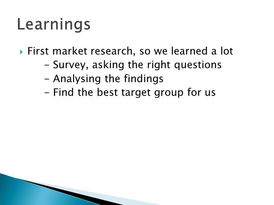 First market research, so we learned a lot - Survey, asking the right questions - Analysing the findings - Find the best target group for us