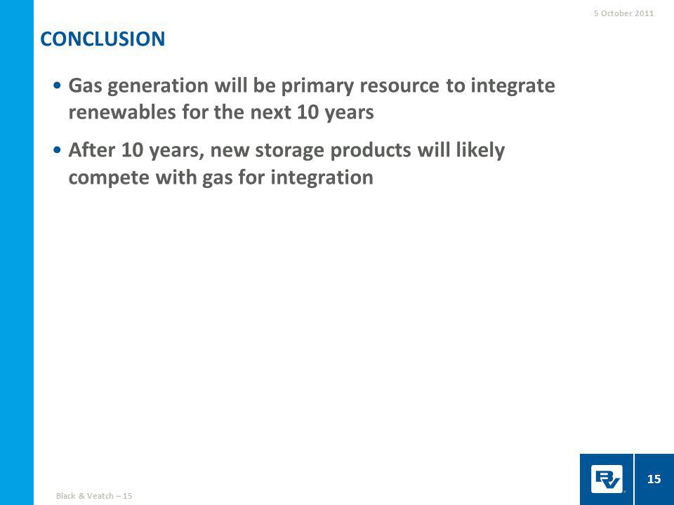 Gas generation will be primary resource to integrate renewables for the next 10 years After 10 years, new storage products will likely compete with gas for integration CONCLUSION 5 October 2011 15 Black & Veatch – 15