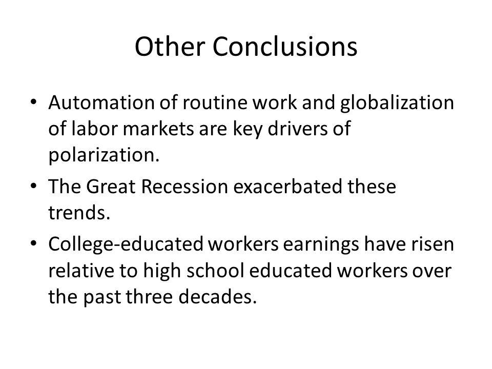 Other Conclusions Automation of routine work and globalization of labor markets are key drivers of polarization.