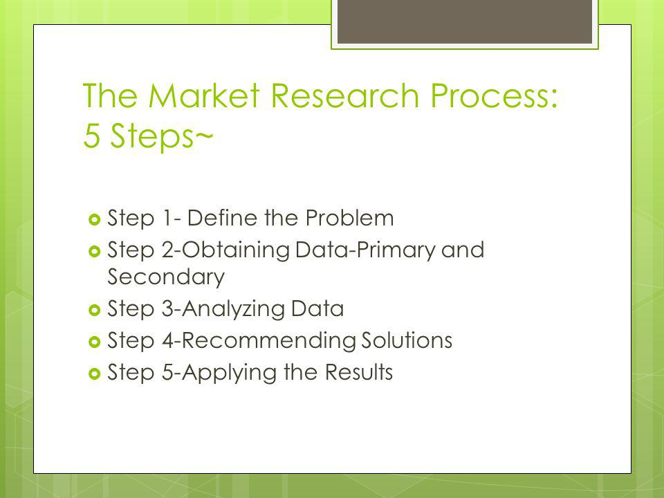 The Market Research Process: 5 Steps~ Step 1- Define the Problem Step 2-Obtaining Data-Primary and Secondary Step 3-Analyzing Data Step 4-Recommending Solutions Step 5-Applying the Results