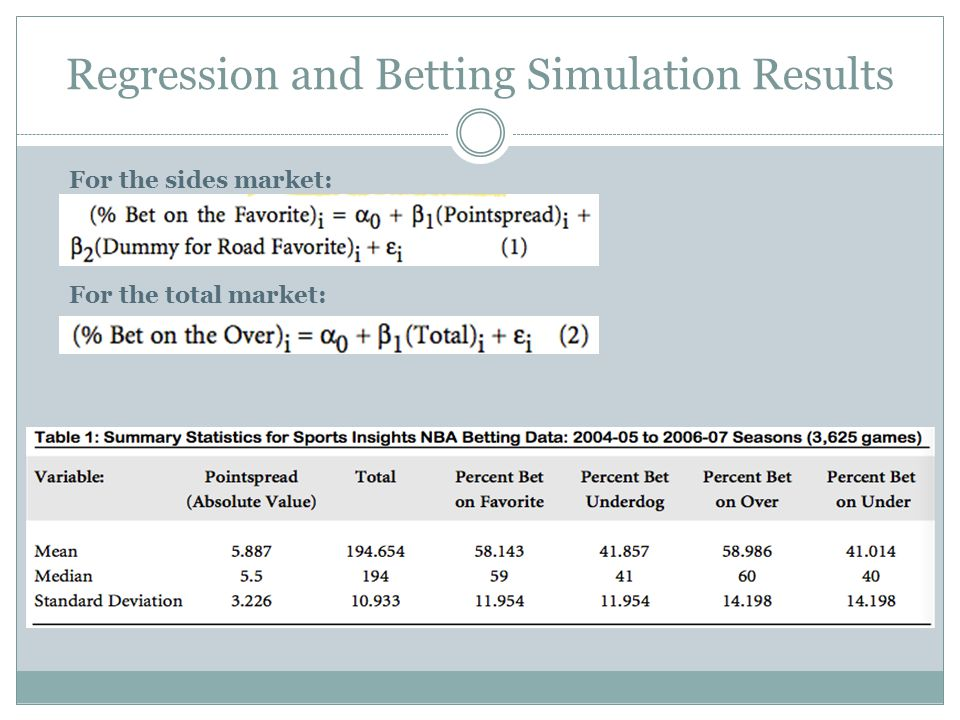 Regression and Betting Simulation Results For the sides market: For the total market: