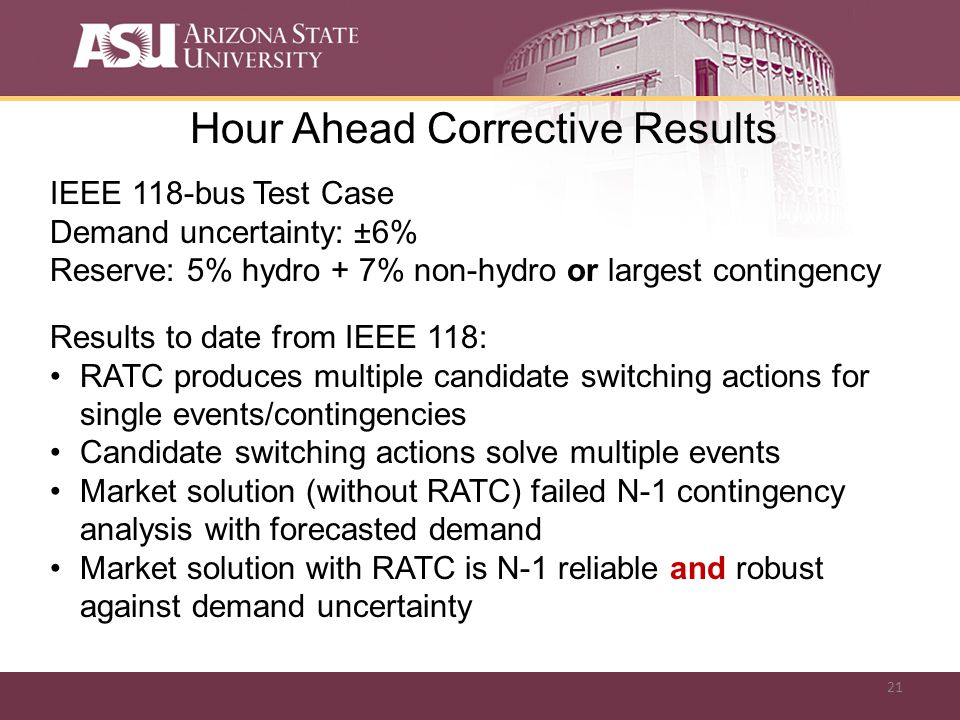 21 Hour Ahead Corrective Results IEEE 118-bus Test Case Demand uncertainty: ±6% Reserve: 5% hydro + 7% non-hydro or largest contingency Results to date from IEEE 118: RATC produces multiple candidate switching actions for single events/contingencies Candidate switching actions solve multiple events Market solution (without RATC) failed N-1 contingency analysis with forecasted demand Market solution with RATC is N-1 reliable and robust against demand uncertainty
