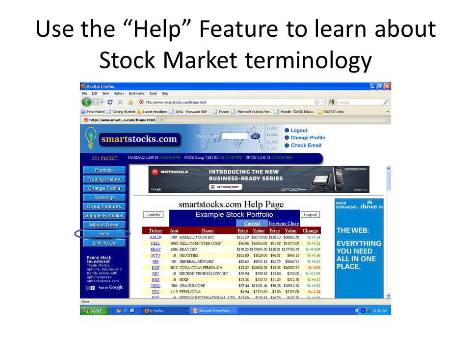 Use the Help Feature to learn about Stock Market terminology