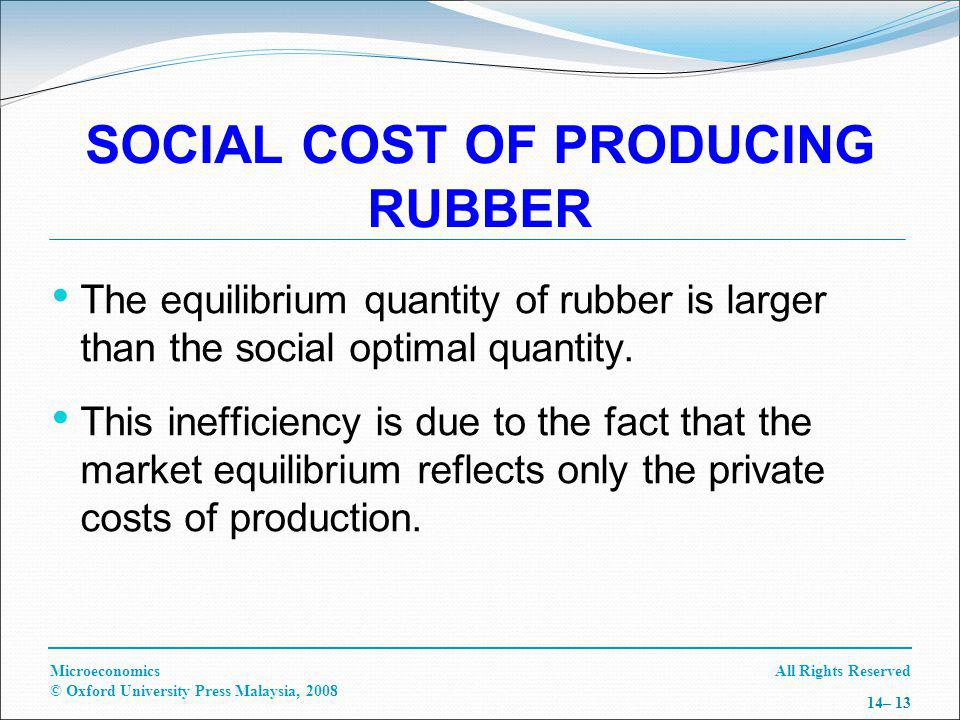 All Rights ReservedMicroeconomics © Oxford University Press Malaysia, 2008 14– 13 SOCIAL COST OF PRODUCING RUBBER The equilibrium quantity of rubber is larger than the social optimal quantity.