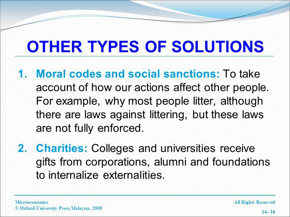 All Rights ReservedMicroeconomics © Oxford University Press Malaysia, 2008 14– 16 OTHER TYPES OF SOLUTIONS 1.Moral codes and social sanctions: To take account of how our actions affect other people.