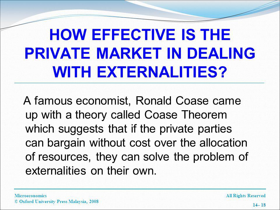 All Rights ReservedMicroeconomics © Oxford University Press Malaysia, 2008 14– 18 HOW EFFECTIVE IS THE PRIVATE MARKET IN DEALING WITH EXTERNALITIES.