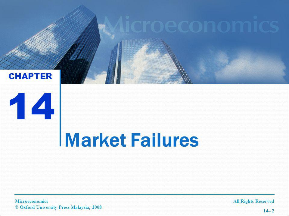 All Rights ReservedMicroeconomics © Oxford University Press Malaysia, 2008 14– 2 Market Failures CHAPTER 14