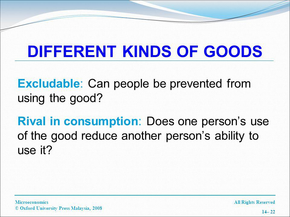 All Rights ReservedMicroeconomics © Oxford University Press Malaysia, 2008 14– 22 DIFFERENT KINDS OF GOODS Excludable: Can people be prevented from using the good.