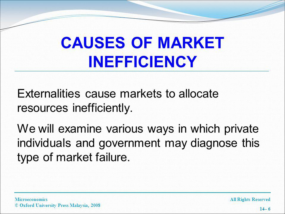 All Rights ReservedMicroeconomics © Oxford University Press Malaysia, 2008 14– 6 CAUSES OF MARKET INEFFICIENCY Externalities cause markets to allocate resources inefficiently.
