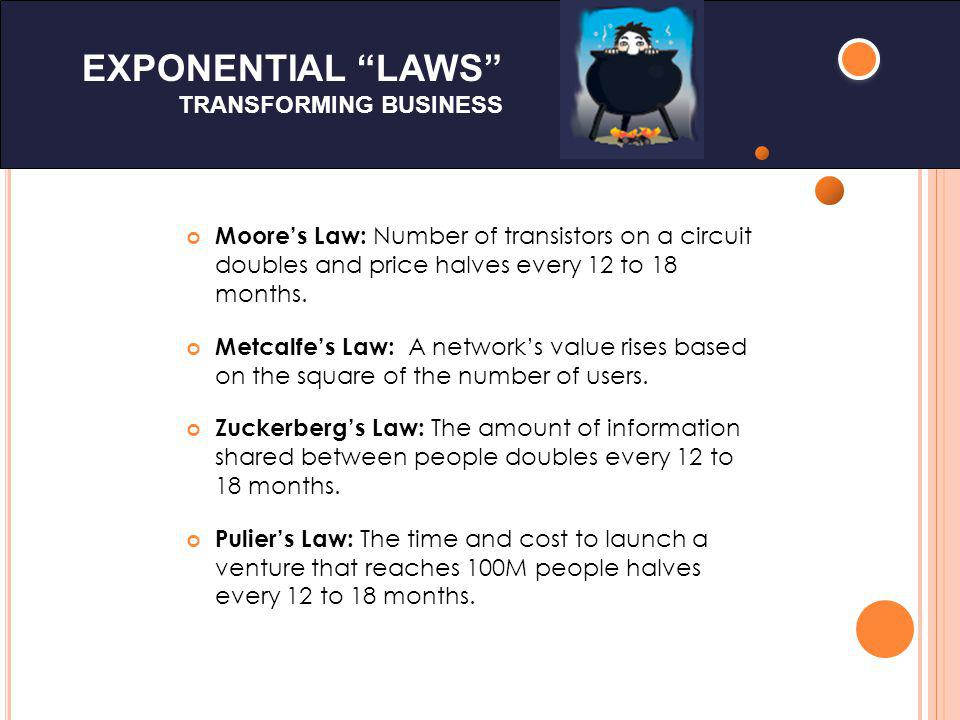 EXPONENTIAL LAWS TRANSFORMING BUSINESS Moores Law: Number of transistors on a circuit doubles and price halves every 12 to 18 months.