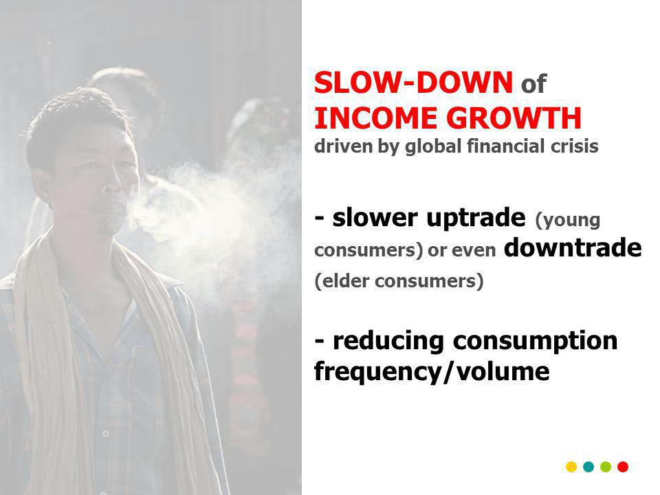 SLOW-DOWN of INCOME GROWTH driven by global financial crisis - slower uptrade (young consumers) or even downtrade (elder consumers) - reducing consumption frequency/volume