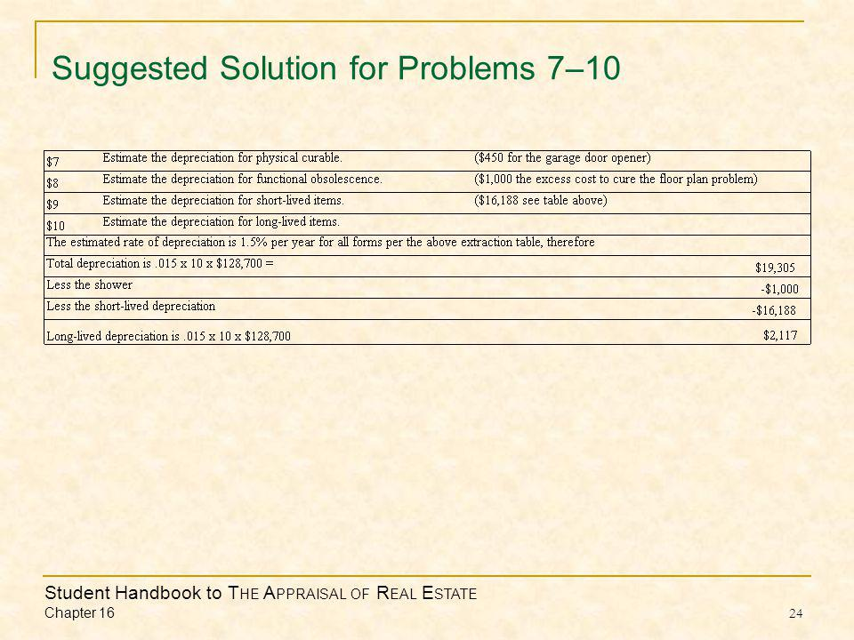 Student Handbook to T HE A PPRAISAL OF R EAL E STATE Chapter Suggested Solution for Problems 7–10