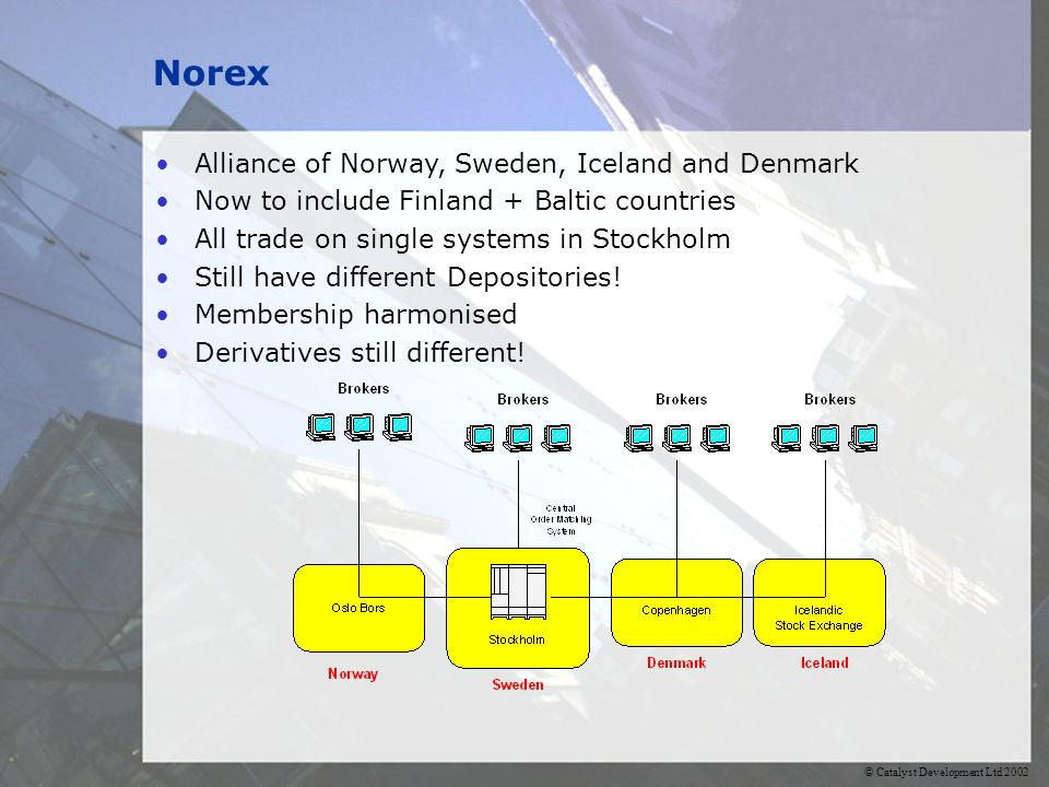 © Catalyst Development Ltd 2002 Norex Alliance of Norway, Sweden, Iceland and Denmark Now to include Finland + Baltic countries All trade on single systems in Stockholm Still have different Depositories.