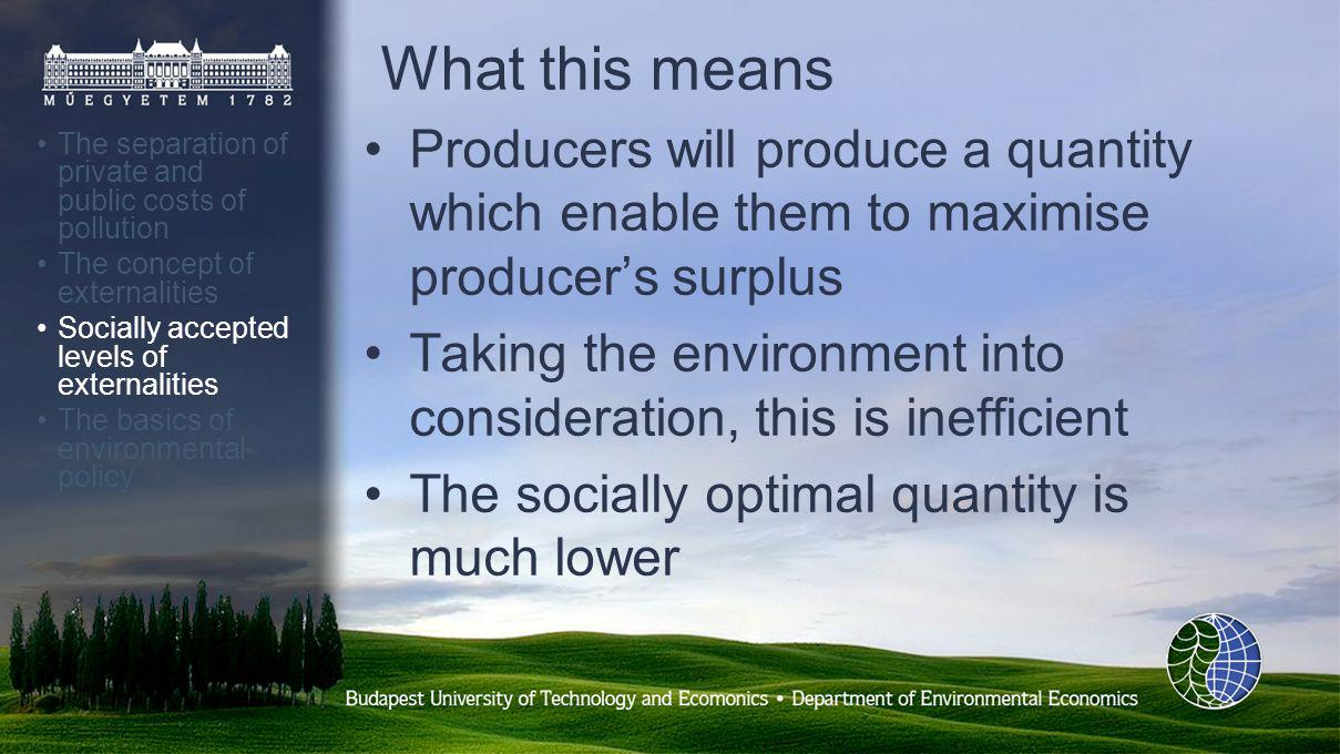 What this means Producers will produce a quantity which enable them to maximise producers surplus Taking the environment into consideration, this is inefficient The socially optimal quantity is much lower The separation of private and public costs of pollution The concept of externalities Socially accepted levels of externalities The basics of environmental policy