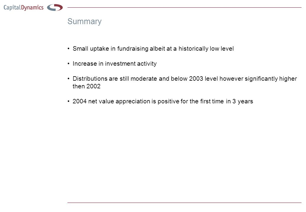 Summary Small uptake in fundraising albeit at a historically low level Increase in investment activity Distributions are still moderate and below 2003 level however significantly higher then 2002 2004 net value appreciation is positive for the first time in 3 years