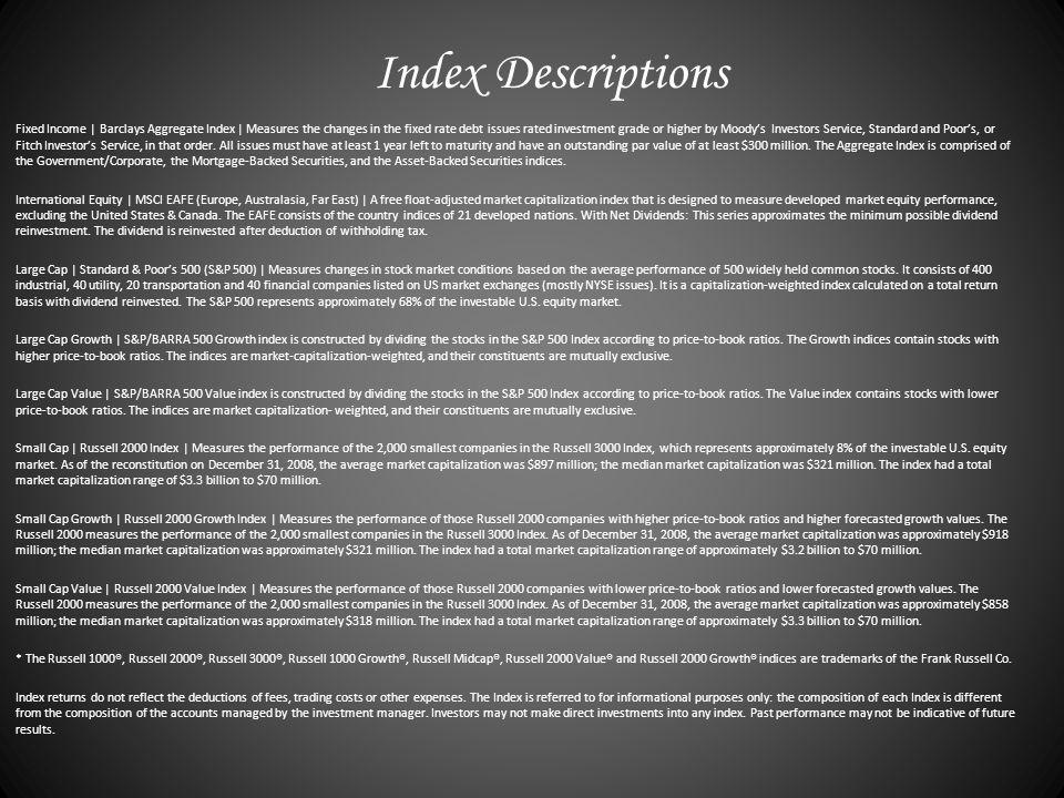 Index Descriptions Fixed Income | Barclays Aggregate Index | Measures the changes in the fixed rate debt issues rated investment grade or higher by Moodys Investors Service, Standard and Poors, or Fitch Investors Service, in that order.