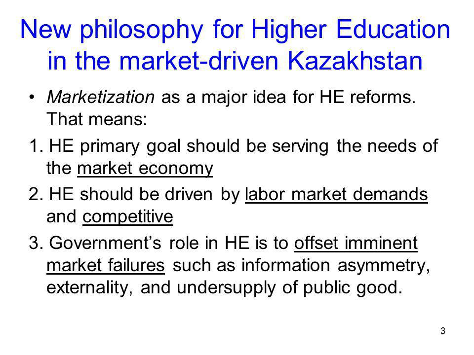 3 New philosophy for Higher Education in the market-driven Kazakhstan Marketization as a major idea for HE reforms.