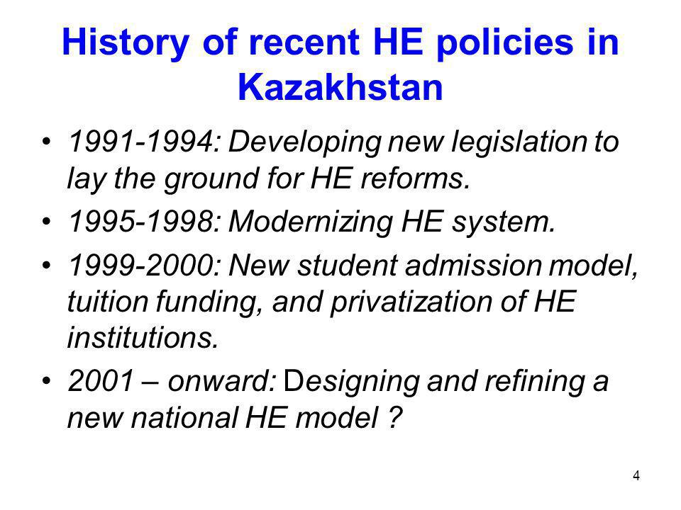 4 History of recent HE policies in Kazakhstan 1991-1994: Developing new legislation to lay the ground for HE reforms.