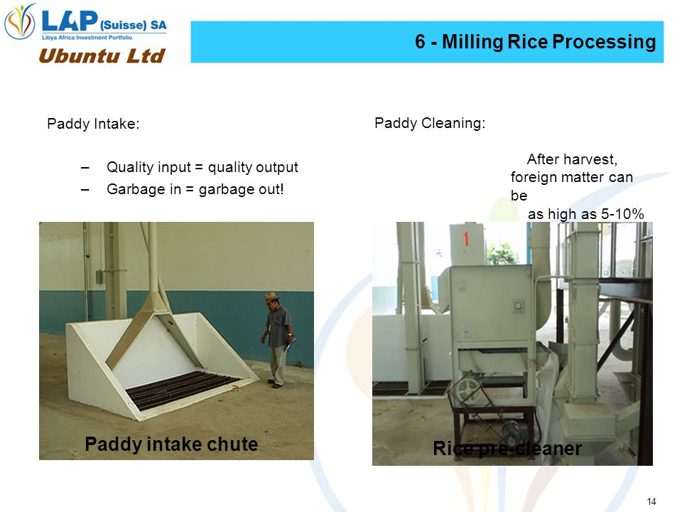 14 6 - Milling Rice Processing Paddy Intake: –Quality input = quality output –Garbage in = garbage out.