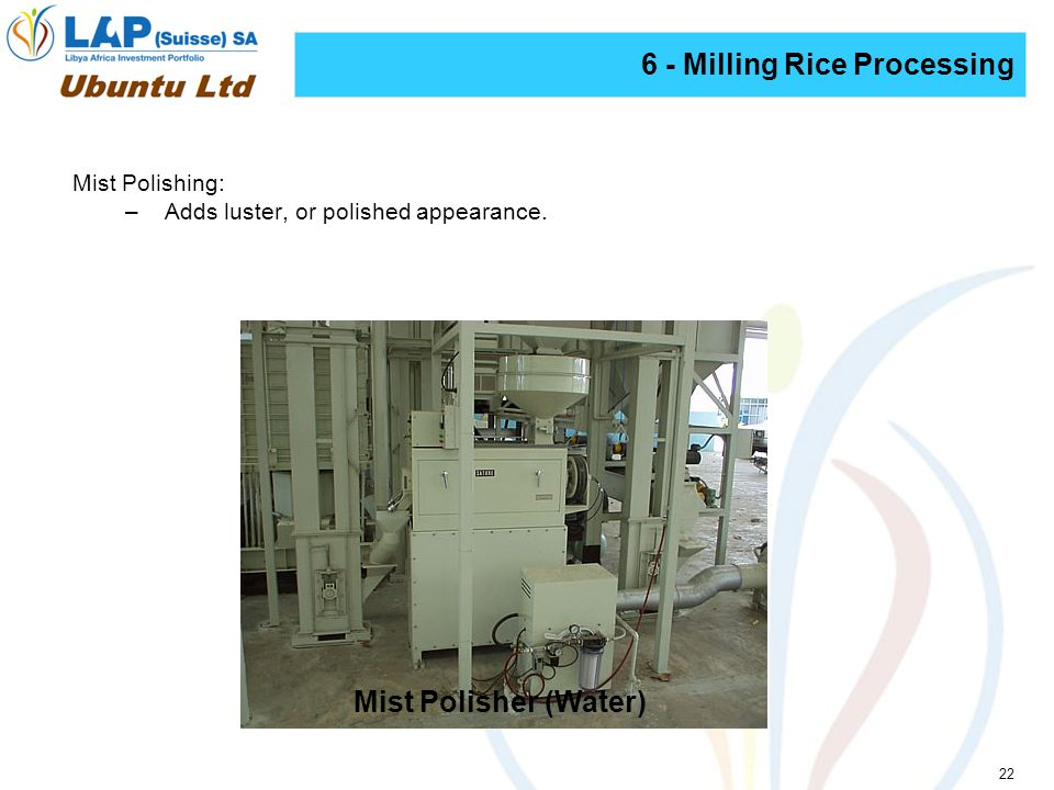 22 6 - Milling Rice Processing Mist Polishing: –Adds luster, or polished appearance.