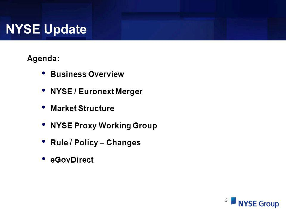 2 Agenda: Business Overview NYSE / Euronext Merger Market Structure NYSE Proxy Working Group Rule / Policy – Changes eGovDirect NYSE Update