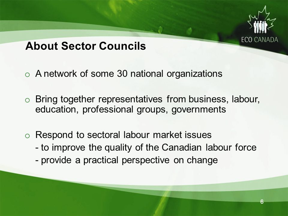6 About Sector Councils About Sector Councils o A network of some 30 national organizations o Bring together representatives from business, labour, education, professional groups, governments o Respond to sectoral labour market issues - to improve the quality of the Canadian labour force - provide a practical perspective on change
