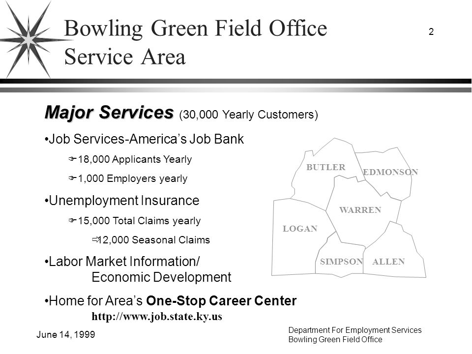 Department For Employment Services Bowling Green Field Office June 14, 1999 2 Bowling Green Field Office Service Area WARREN BUTLER EDMONSON LOGAN SIMPSONALLEN Major Services Major Services (30,000 Yearly Customers) Job Services-Americas Job Bank 18,000 Applicants Yearly 1,000 Employers yearly Unemployment Insurance 15,000 Total Claims yearly 12,000 Seasonal Claims Labor Market Information/ Economic Development Home for Areas One-Stop Career Center http://www.job.state.ky.us
