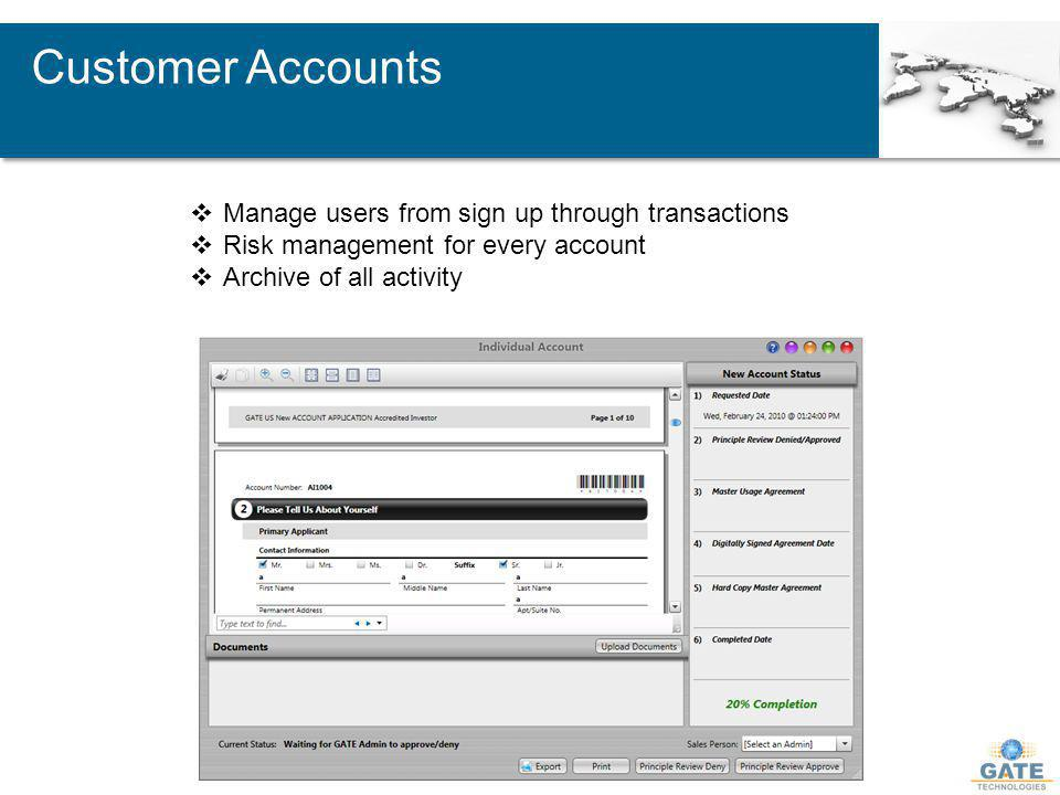 Customer Accounts Manage users from sign up through transactions Risk management for every account Archive of all activity