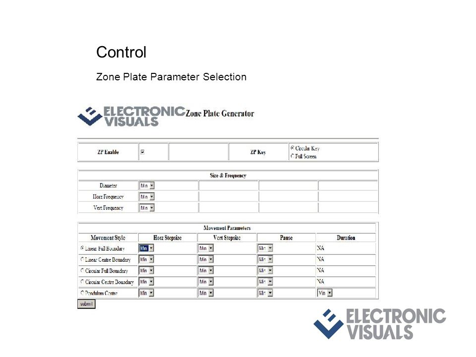 Control Zone Plate Parameter Selection