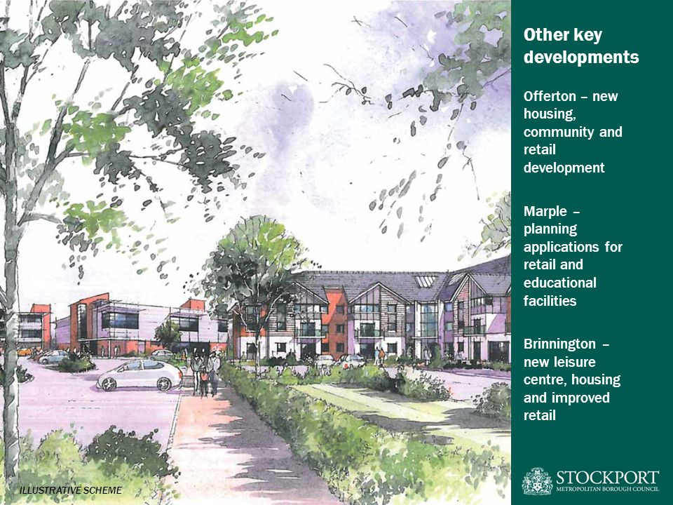Other key developments Offerton – new housing, community and retail development Marple – planning applications for retail and educational facilities Brinnington – new leisure centre, housing and improved retail ILLUSTRATIVE SCHEME