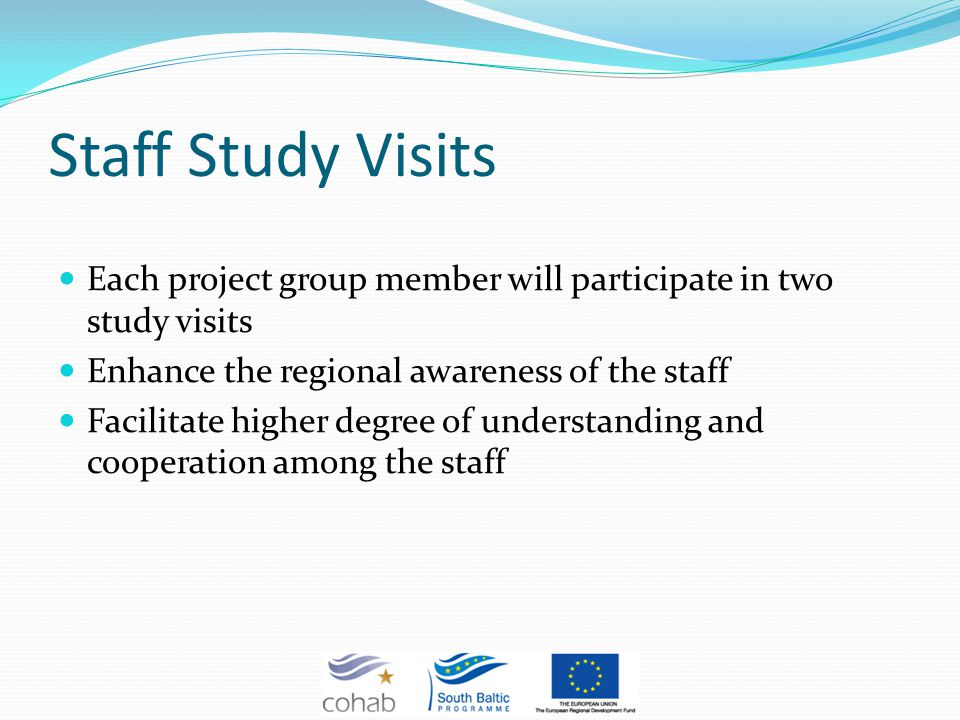 Staff Study Visits Each project group member will participate in two study visits Enhance the regional awareness of the staff Facilitate higher degree of understanding and cooperation among the staff
