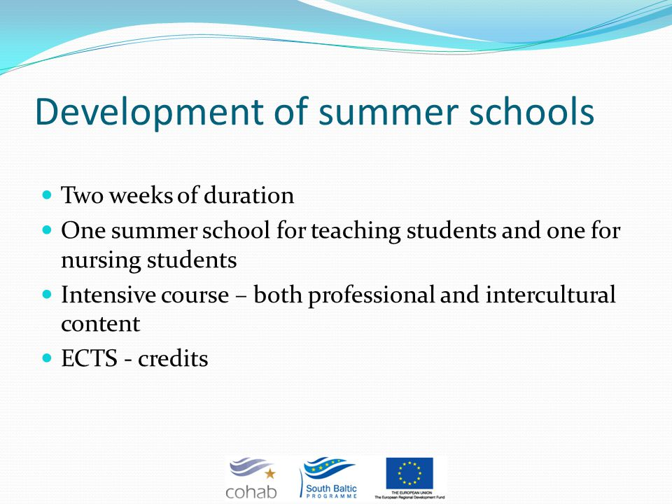 Development of summer schools Two weeks of duration One summer school for teaching students and one for nursing students Intensive course – both professional and intercultural content ECTS - credits