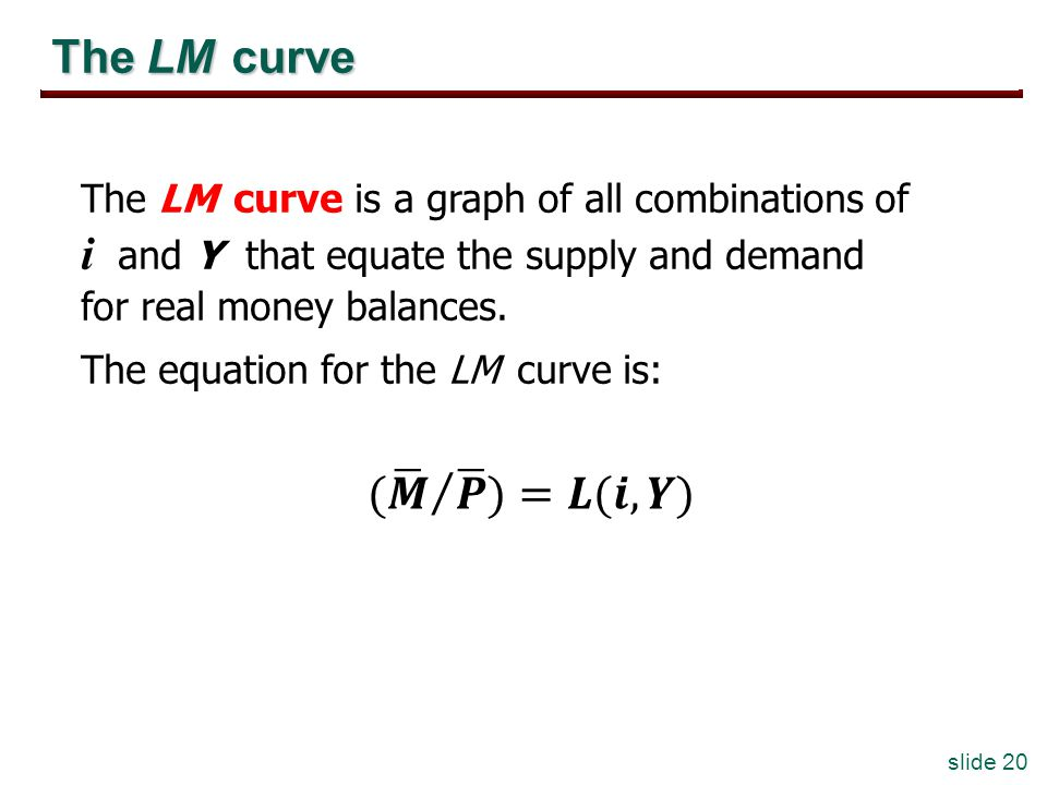 slide 20 The LM curve The LM curve is a graph of all combinations of i and Y that equate the supply and demand for real money balances.