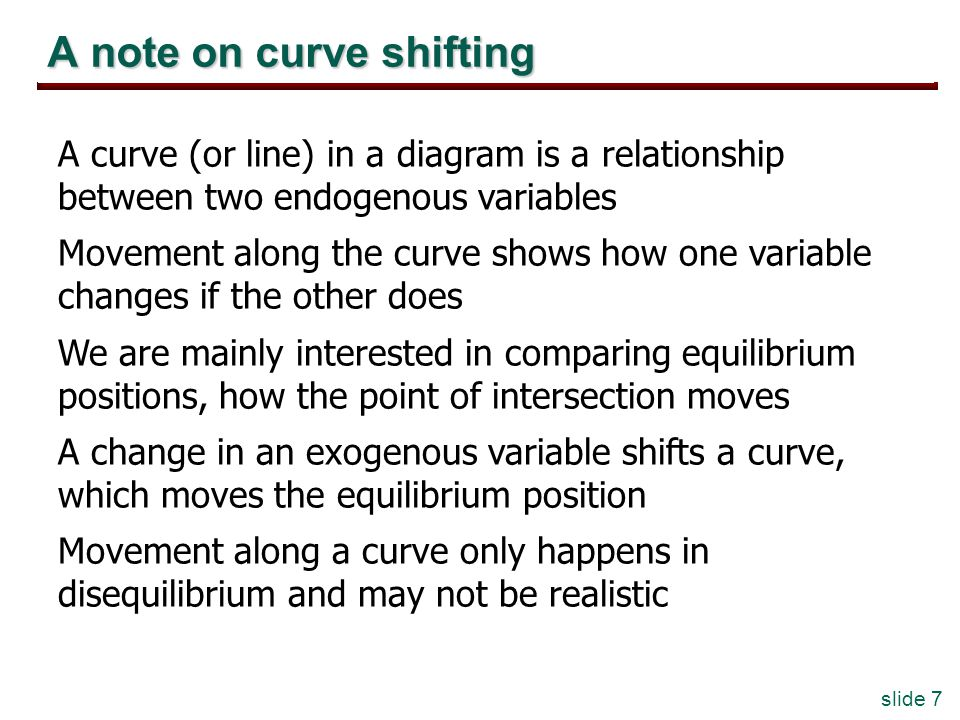 slide 7 A note on curve shifting A curve (or line) in a diagram is a relationship between two endogenous variables Movement along the curve shows how one variable changes if the other does We are mainly interested in comparing equilibrium positions, how the point of intersection moves A change in an exogenous variable shifts a curve, which moves the equilibrium position Movement along a curve only happens in disequilibrium and may not be realistic