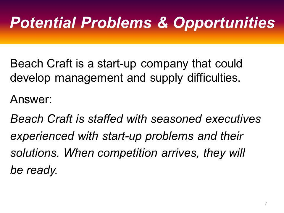 Beach Craft is a start-up company that could develop management and supply difficulties.