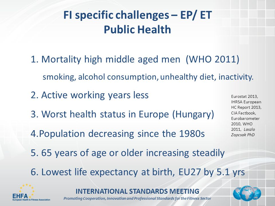 INTERNATIONAL STANDARDS MEETING Promoting Cooperation, Innovation and Professional Standards for the Fitness Sector FI specific challenges – EP/ ET Public Health 1.
