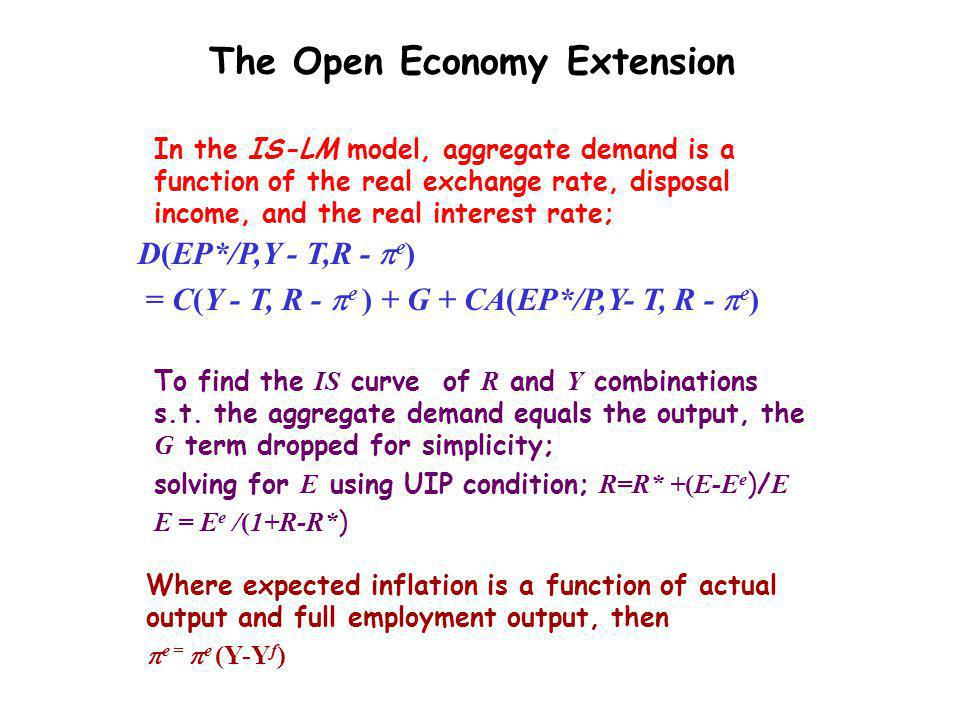 Keynesian Macroeconomics: (5) A fall in the money wage P Y P2P2 Y1Y1 AS(W) AD Y Y1Y1 r r1r1 L L1L1 W/P LdLd W ` /P 2 W ` /P 1 L1L1 L Y Y=f(L) LM(P 1 ) Y2Y2 P1P1 Y2Y2 L2L2 Y1Y1 Y2Y2 IS 1 L2L2 r2r2 AS(W ` ) LM(P 2 )