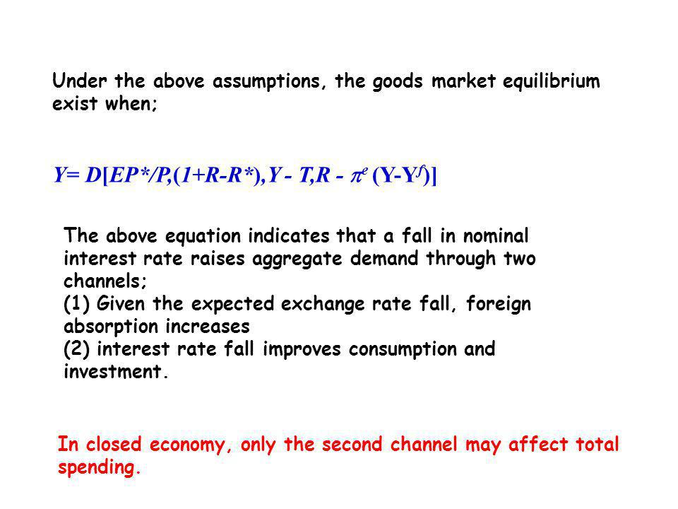 The Open Economy Extension In the IS-LM model, aggregate demand is a function of the real exchange rate, disposal income, and the real interest rate; D(EP*/P,Y - T,R - e ) = C(Y - T, R - e ) + G + CA(EP*/P,Y- T, R - e ) To find the IS curve of R and Y combinations s.t.