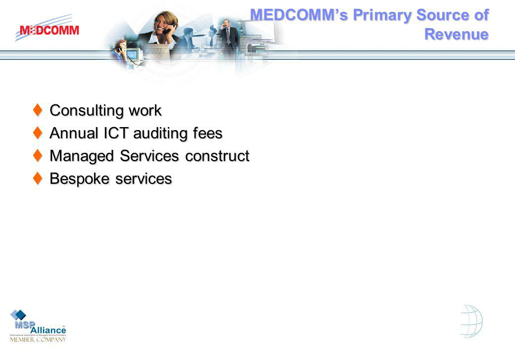 MEDCOMMs Primary Source of Revenue Consulting work Consulting work Annual ICT auditing fees Annual ICT auditing fees Managed Services construct Managed Services construct Bespoke services Bespoke services