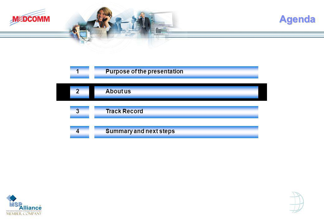 Agenda 1Purpose of the presentation 2About us 3Track Record 4Summary and next steps
