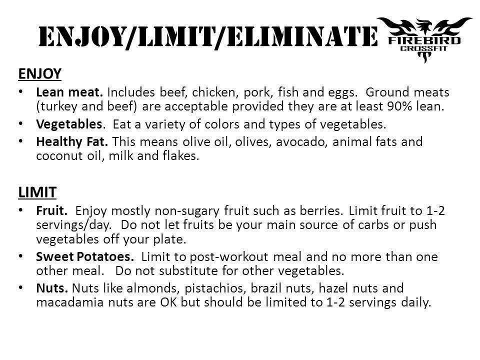 ENJOY/LIMIT/ELIMINATE ENJOY Lean meat. Includes beef, chicken, pork, fish and eggs.