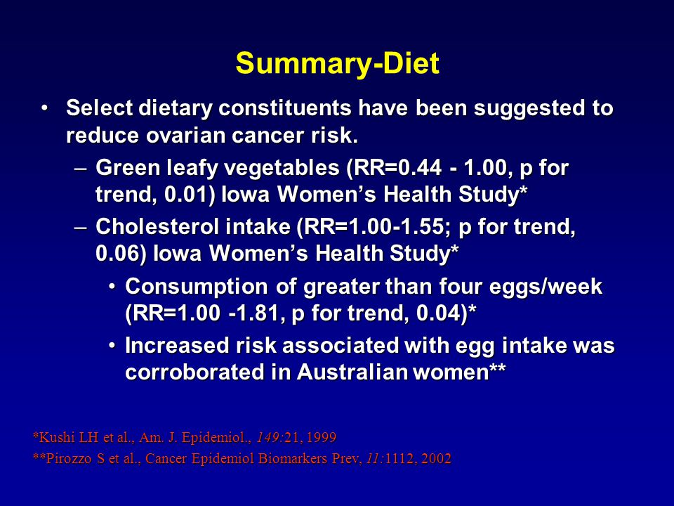 Summary-Diet Select dietary constituents have been suggested to reduce ovarian cancer risk.Select dietary constituents have been suggested to reduce ovarian cancer risk.