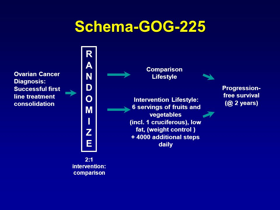 Schema-GOG-225 Ovarian Cancer Diagnosis: Successful first line treatment consolidation Comparison Lifestyle Intervention Lifestyle: 6 servings of fruits and vegetables (incl.