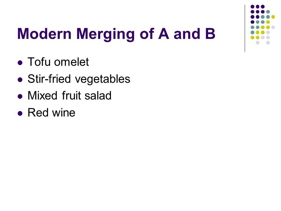 Modern Merging of A and B Tofu omelet Stir-fried vegetables Mixed fruit salad Red wine