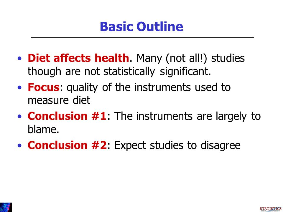 Basic Outline Diet affects health.