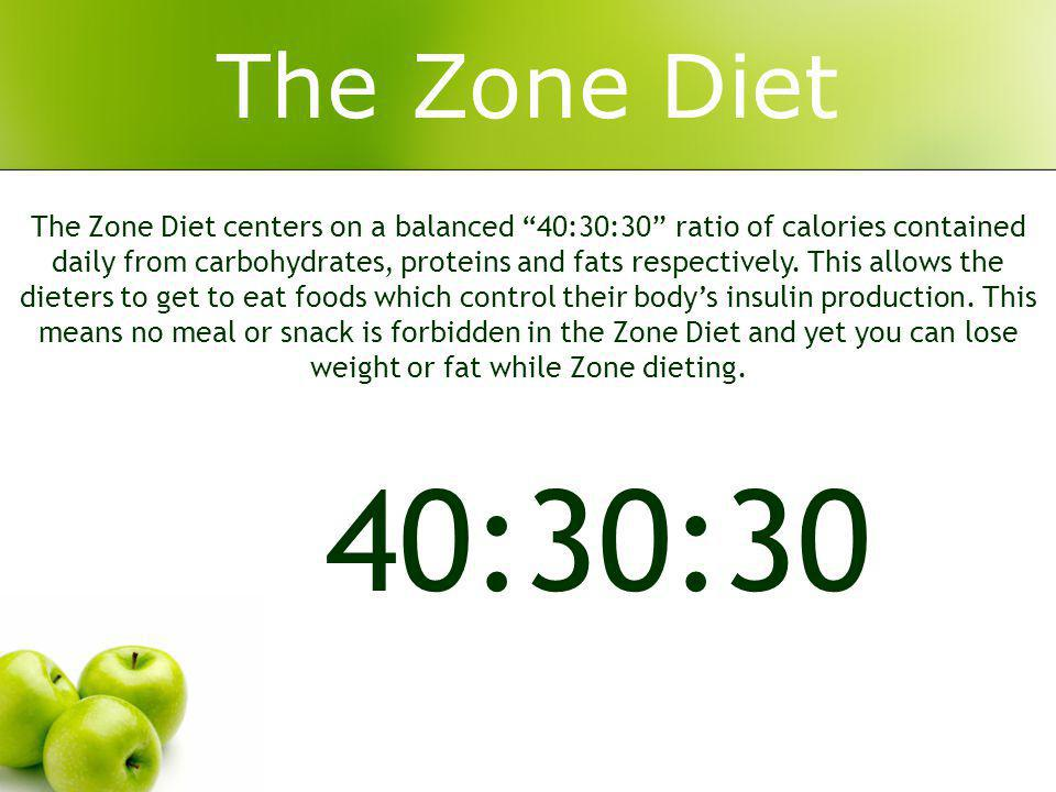 The Zone Diet The Zone Diet centers on a balanced 40:30:30 ratio of calories contained daily from carbohydrates, proteins and fats respectively.