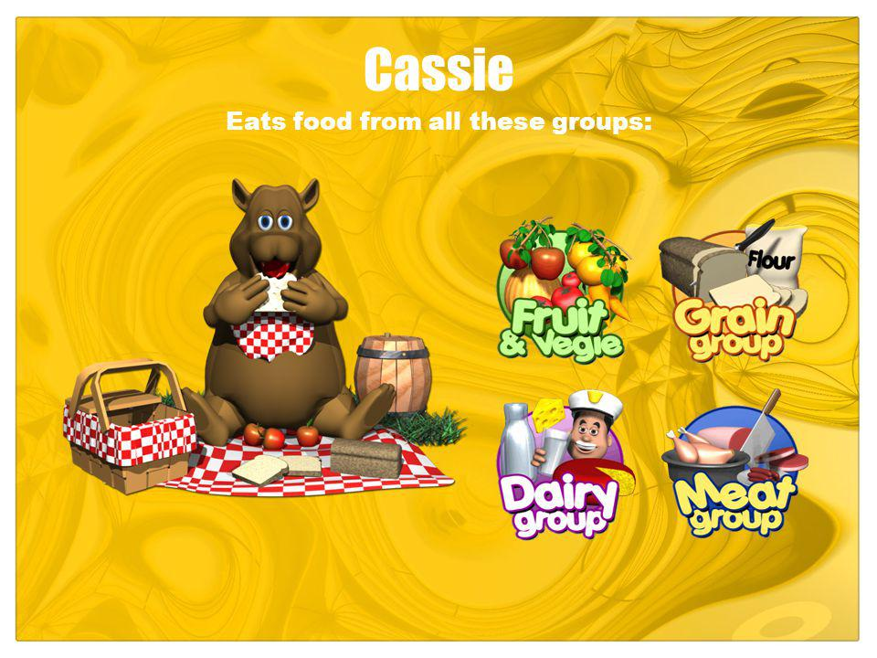 Cassie Eats food from all these groups: