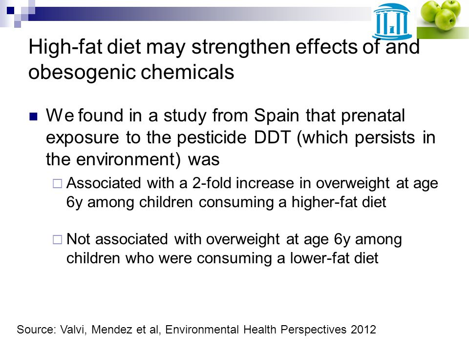 High-fat diet may strengthen effects of and obesogenic chemicals We found in a study from Spain that prenatal exposure to the pesticide DDT (which persists in the environment) was Associated with a 2-fold increase in overweight at age 6y among children consuming a higher-fat diet Not associated with overweight at age 6y among children who were consuming a lower-fat diet Source: Valvi, Mendez et al, Environmental Health Perspectives 2012