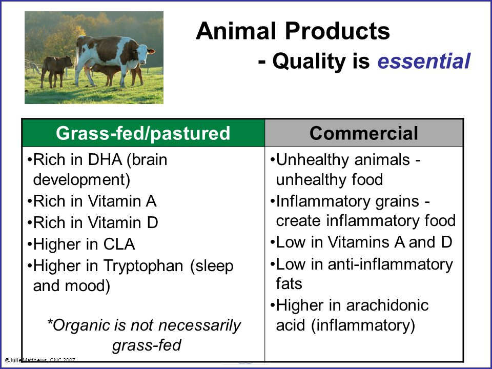 ©Julie Matthews, CNC 2007 Animal Products - Quality is essential Grass-fed/pasturedCommercial Rich in DHA (brain development) Rich in Vitamin A Rich in Vitamin D Higher in CLA Higher in Tryptophan (sleep and mood) *Organic is not necessarily grass-fed Unhealthy animals - unhealthy food Inflammatory grains - create inflammatory food Low in Vitamins A and D Low in anti-inflammatory fats Higher in arachidonic acid (inflammatory) ©Julie Matthews, CNC 2007